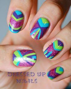 Wonderful colourful Geometric Nail Art