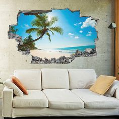 Our wall stickers are produced using high quality matt finish vinyls, which blends beautifully on your wall giving that fabulous painted effect. Beach Wall Murals, 3d Wall Murals, 3d Wall Art, Mural Art, Contemporary Wall Stickers, Wall Sticker Design, 3d Wall Decor, Tiki Room, Butterfly Wall Stickers