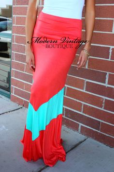 Coral and turquoise maxi skirt