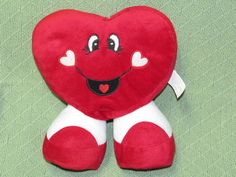 """Valentine HAPPY HEART Plush Best Made 10"""" Stuffed Toy Red and White Standing #BestMade"""