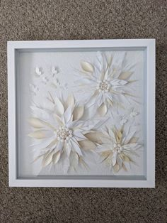 """White 3D Flower Butterfly Art, Wall Art, Washi Art, Home Decor, Japanese Rice Paper, Origami, Unique Gift, 13""""x13""""x1"""", Free Shipping Japanese Origami, Japanese Rice, Origami Art, Unique Gifts, Handmade Gifts, Butterfly Art, Rice Paper, Washi, 3d"""