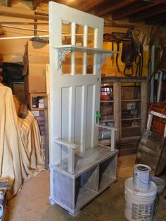 how to build a hall tree from old door | added a little decoration to cover the…
