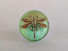 Czech Glass-31mm Button Green Dragonfly 24K Gold by VodaBeads