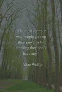 """""""The most common way people give up their power is by thinking they don't have any."""" - Alice Walker"""