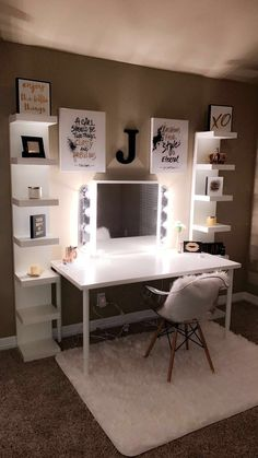 Beautiful vanity with DIY lights!