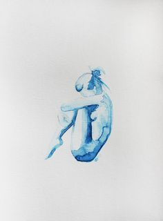 Original Watercolor Clementine 11 x 15 by ArtbyVBM on Etsy, $75.00 #blue #watercolor #nude #woman #sad