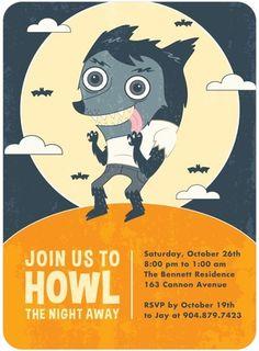 Howl the Night Away Full Moon Halloween Invitations Halloween Prints, Halloween Cards, Spooky Halloween, Happy Halloween, Halloween Party Invitations, Tiny Prints, Unique Invitations, Custom Cards, 10th Birthday