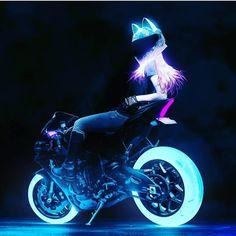 Some fine Motorcycle Art by Motorbike Girl, Motorcycle Art, Motorcycle Girls, Bike Art, Cool Anime Girl, Kawaii Anime Girl, Bike Photoshoot, Futuristic Motorcycle, M Anime