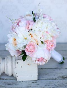 Silk Bride Bouquet Daisies Peonies Roses Rustic Chic Wedding. $99.00, via Etsy.