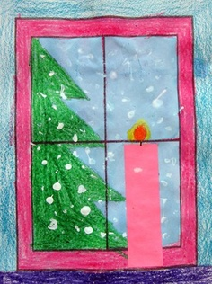 Christmas Season Art Project, maybe have students draw a winter scene of their choice in the window Christmas Art Projects, Winter Art Projects, Christmas Crafts, 1st Grade Crafts, Kindergarten Art Lessons, Preschool Christmas, Art Classroom, Art Plastique, Elementary Art