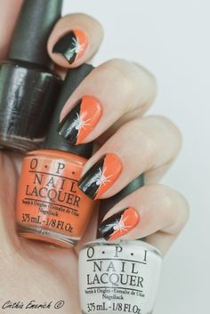 2014 Halloween spider nail art design for girls