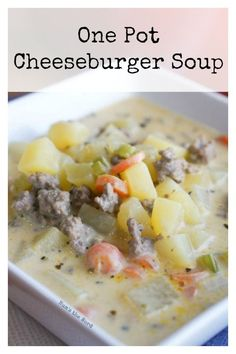 This One Pot Cheeseburger Soup is creamy, flavorful and takes only 30 minutes to make! Make a double batch and freeze some for later! One of our favorite easy winter soups! Best Soup Recipes, Amish Recipes, Supper Recipes, Chili Recipes, Great Recipes, Salad Recipes, Healthy Recipes, Supper Meals, Skillet Recipes