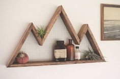 Sticker montagne, plateau, Mountain Home Decor, Tenture murale, étagère murale, bois récupéré, pièce d