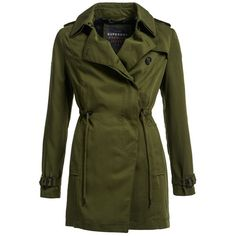 Superdry Winter Draped Trench (£100) ❤ liked on Polyvore featuring outerwear, coats, khaki, women, zip trench coat, drape coat, khaki coat, zip coat and fur sleeve coat