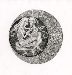 Moon Shadow by Katherine Sunderland Moon Shadow, Squaring The Circle, Celtic Heart, Zentangle Patterns, Zentangles, Irish Celtic, Great Tattoos, Magick, Wiccan