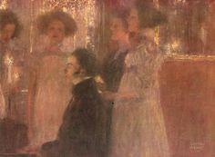 Gustav Klimt: Schubert al pianoforte I (1896) olio su tela 39x30. Stile: Simbolismo. Periodo: Prime opere
