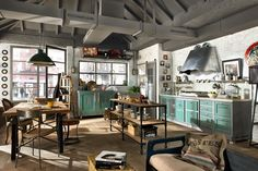 industrial country style kind of kitchen. cool and charming!