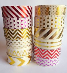 Red Gold Foil Washi Tape Masking Tape Crafts Shiny Stripes Hearts Pineapples 10M | eBay