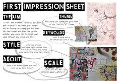 GCSE First Impression Sheet   Sketchbook Presentation Skills Sketchbook Layout, Gcse Art Sketchbook, Sketchbooks, Art Analysis, Art Doodle, Art Critique, Art Criticism, Art Worksheets, Art Curriculum