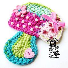 Crochet pattern patchwork mushroom DIY by VendulkaM on Etsy Appliques Au Crochet, Crochet Motifs, Free Crochet, Knit Crochet, Crochet Patterns, Crochet Hats, Crochet Embellishments, Mercerized Cotton Yarn, Crochet Flowers