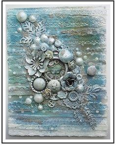 Frozen in Time - skapat av Marie på kurs med @finnabair #skaparlusten.se  #skaparlusten #kursmedskaparlusten #finnabair #mixedmedia #scrapbooking #mariescrapbooking @mariewlinder Altered Canvas, Altered Art, Mixed Media Canvas, Mixed Media Art, Canvas Collage, Plaster Art, Ocean Crafts, 3d Wall Art, 3d Painting