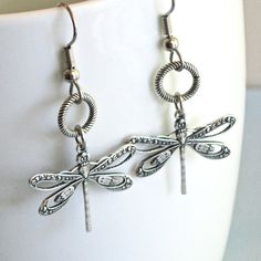 Silver Dragonfly Earrings  Dragonfly Jewelry by mcstoneworks