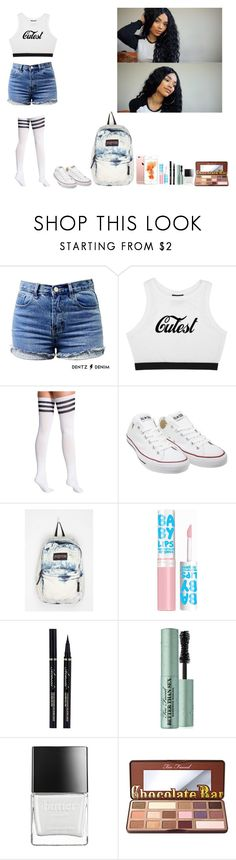 """""""-Glo Queen"""" by thegloup-reina on Polyvore featuring American Apparel, Converse, JanSport, Maybelline, Too Faced Cosmetics and Butter London"""