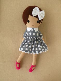 Custom Listing for Leah51 - Fabric Doll Rag Doll Girl in Gray Polka Dotted Dress with Hot Pink Shoes