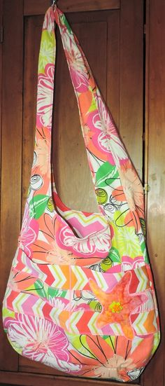 Cross Body Bucket Beach Bag, Shopping Tote, Book Bag USA Made by abitofbeach on Etsy