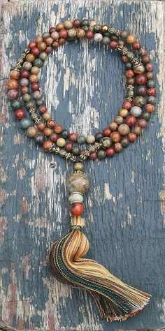 Mala necklace made ​​of 6 and 8 mm - 0.236 and 0.315 inch, beautiful jasper gemstones. Together they count as 108 beads. The mala is decorated with jasper, jade and hematite - look4treasures on Etsy