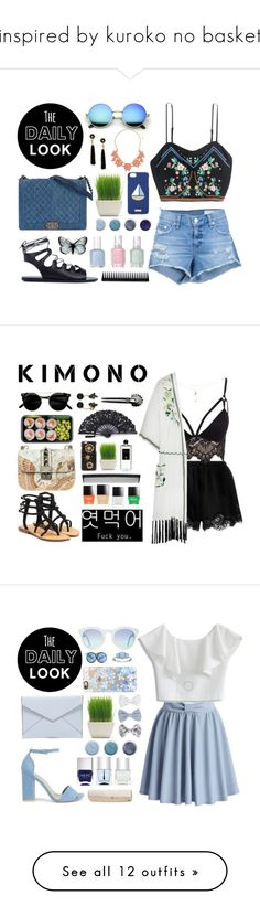 """""""inspired by kuroko no basket"""" by zara-mch ❤ liked on Polyvore featuring Ancient Greek Sandals, H&M, Lizzie Fortunato, rag & bone/JEAN, Terre Mère, Henri Bendel, Essie, GHD, Dorothy Perkins and Twin-Set"""