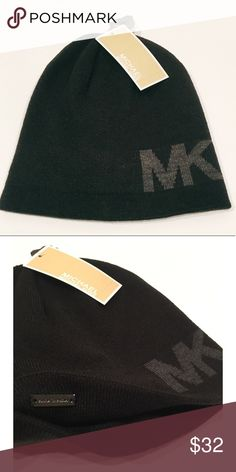 28911fc2dca Michael Kors Beanie Michael Kors Beanie in Black With Gray MK Logo Also  available in Navy with Gray Logo Michael Kors Accessories Hats