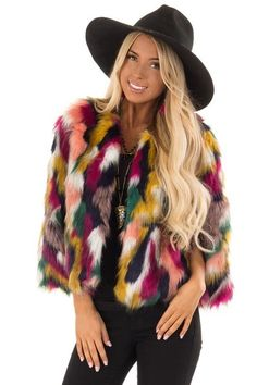 547e386fa1b Multicolor Faux Fur Jacket - Lime Lush Boutique