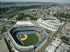 Old Yankees stadium (left) and new Yankee stadium (right).