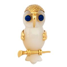 CARTIER. An Agate And Sapphire Owl Brooch. at 1stdibs