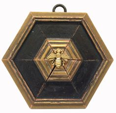 Museum Bees by Trace Mayer.  Made with Antique American Frame.  Gilt Brass Napoleonic Ormolu Bee.