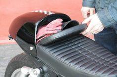 "Wilder FACTORY custom storage ""glove box"" stash seats and parts for Triumph Bonneville & cafe motorcycles. 2016 Triumph custom seats and parts. Motorcycle Seats, Moto Bike, Cafe Racer Motorcycle, Motorcycle Design, Bike Design, Ducati Scrambler, Honda Cb750, Bobber, Yamaha"