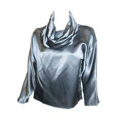 1stdibs   Zoran  Gunmetal liquid silk Cowl neck silk blouse