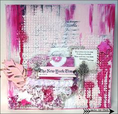 pink Mixed Media Canvas - Arts by Tini