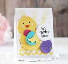 Eggstra Special Card by Laurie Schmidlin for Papertrey Ink (February Scrapbook Paper Crafts, Scrapbook Layouts, Scrapbooking, Classroom Treats, Paper Craft Supplies, Flower Stamp, Embossed Cards, Holiday Cards, Cardmaking