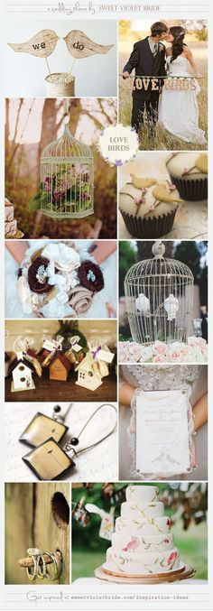 Wedding Inspiration Board #13: Love Birds. Doves released at weddings. Traditionally, Doves are symbols of love and peace. Lovebird's exhibit strong, monogamous pair bonding and spend hours of time enjoying each others company. The romance behind this sentiment has been translated into nuptial celebrations as an adaptable and trendy theme. Try adding various size bird cages as table centerpieces or card holders and have your guests throw birdseed!