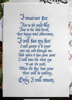 Bene Gesserit Litany Against Fear from the Dune books by ...
