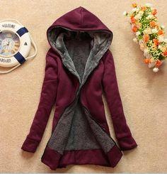 Women's Long Sleeves Hooded Zipper Jacket