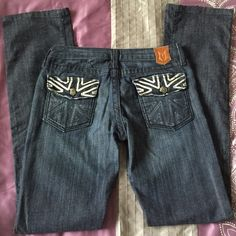 Reduced Monarchy Jeans Super hot Monarchy jeans! Size 28. Have embroidered back pockets as shown in pics. Deliberate frayed style. Excellent used condition! 33 3/4 inseam. 7 inches from waist to crotch. First pic represents color best. Low rise. Monarchy Jeans Boot Cut