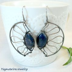 Wire Wrapped Lazuli Earrings  Sterling Silver by YagnaWireJewelry