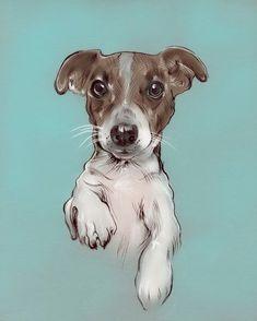 Retrato de mascota-DIGITAL-Retrato de perro-Mascota-Dibujo-Regalo-Ilustración personalizada-Por engargo