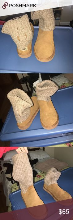 Half knit half boot Uggs I'm selling my half knit half boot Uggs, I never really wore them I realized I didn't care for them as much as I thought I did. No signs of wear, just missing the buckle that goes around the knit part. UGG Shoes Winter & Rain Boots