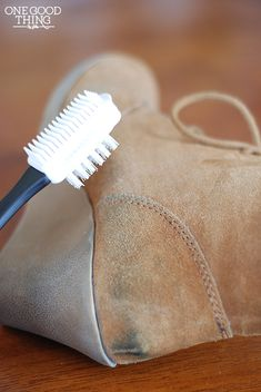 Great guide on how to clean suede shoes. It's made for womens shoes but it applies for mens shoes just as well.