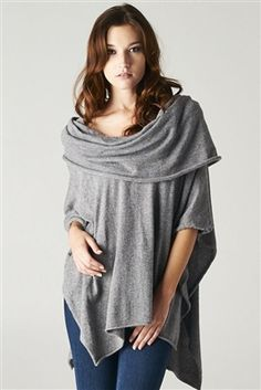 Draped Neckline Knit Poncho *2 COLORS*.  $59.00