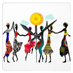 African Praise Dance, Square Wall Clock
